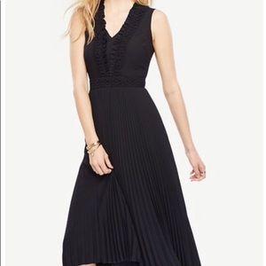 Ann Taylor navy pleated v-neck Midi Dress